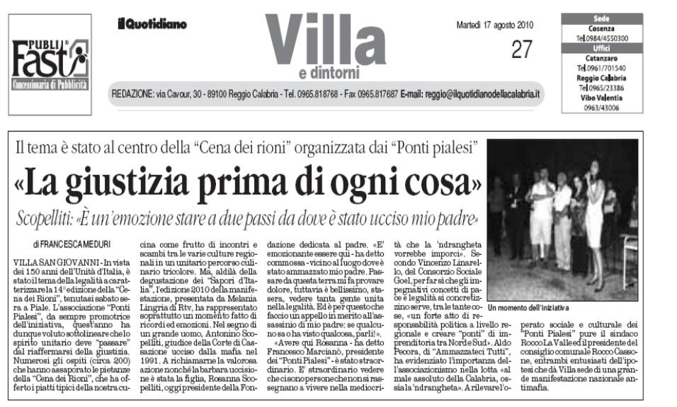 Il Quotidiano di Calabria Cena dei Rioni 2011  -Ponti Pialesi
