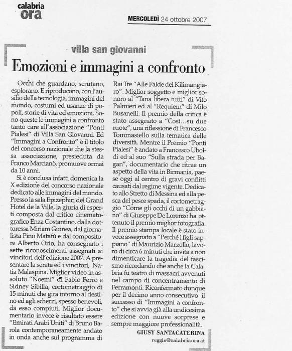 Calabria Ora - IMMAGINI A CONFRONTO 2007