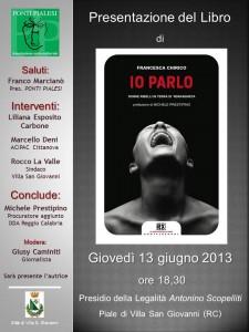 presentazione libro IO PARLO, donne ribelli in terra di 'ndrangheta di Francesca Chirico