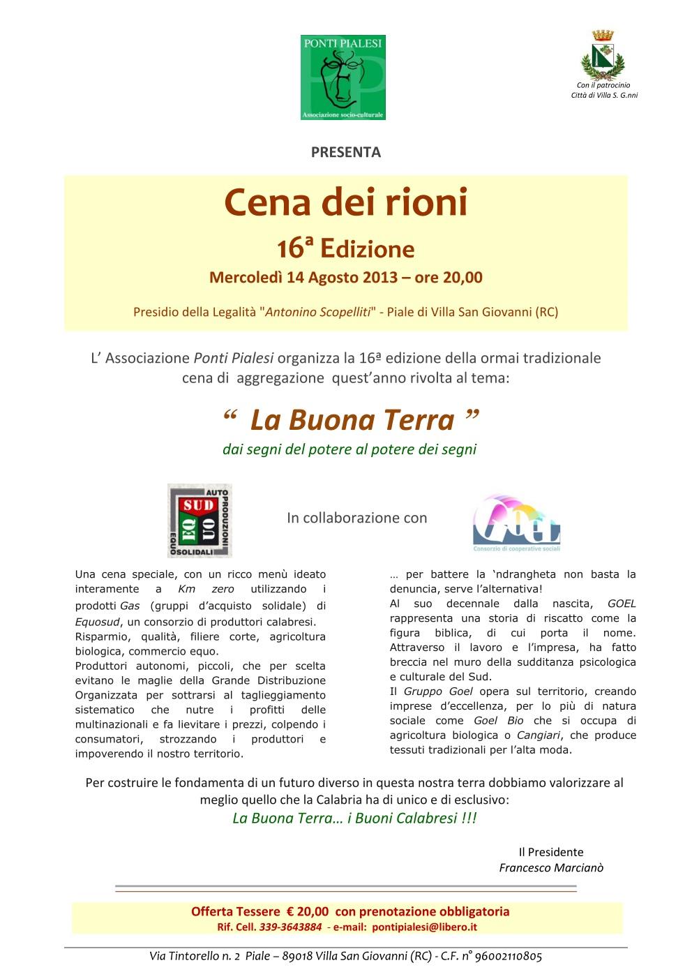 """16a Edizione  Cena dei Rioni 2013 """"La Buona Terra"""""""