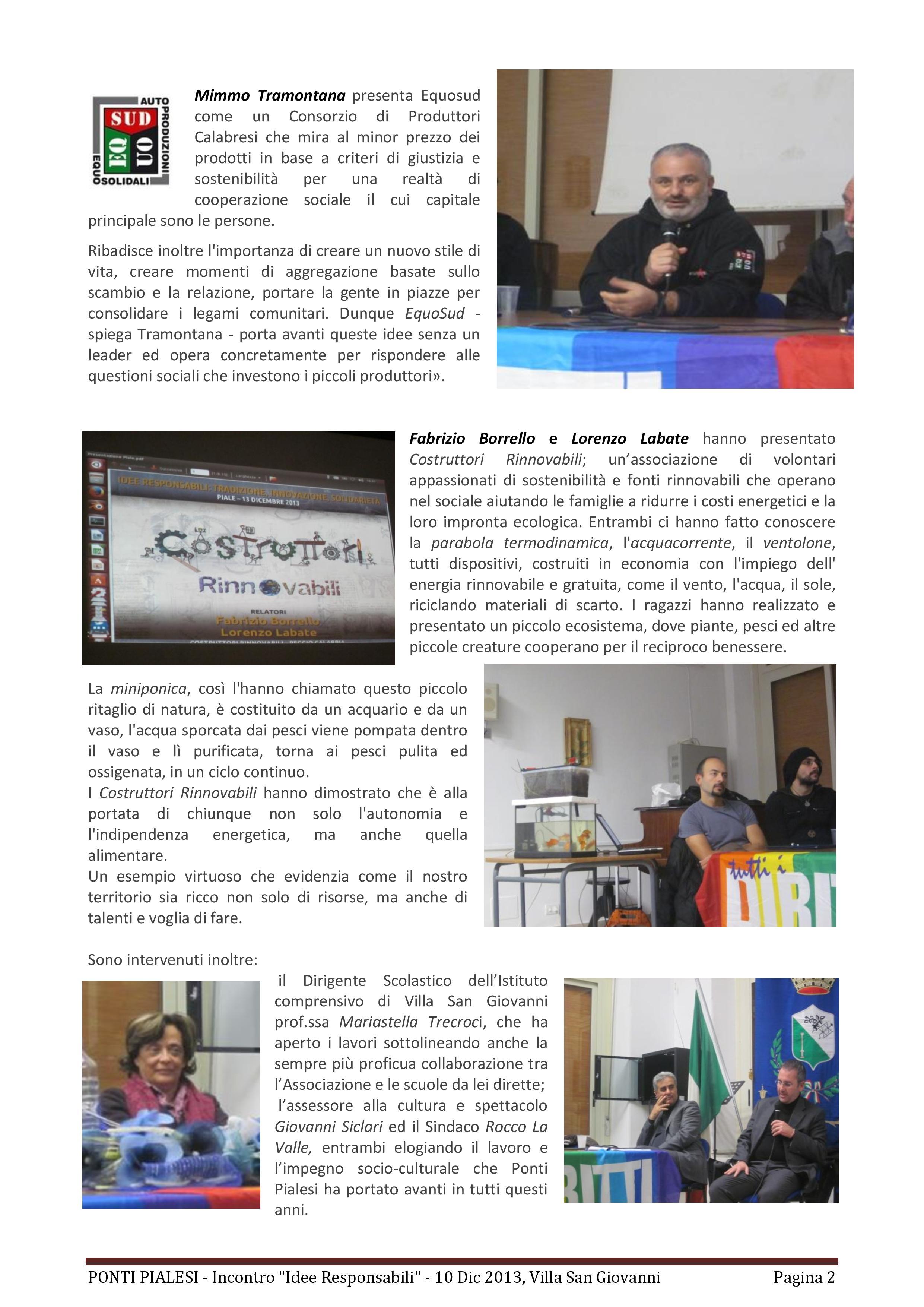 """PONTI PIALESI- Incontro """"IDEE RESPONSABILI: Tradizione, Innovazione, Solidarietà"""" - Villa San Giovanni 10 Dicembre 2013"""