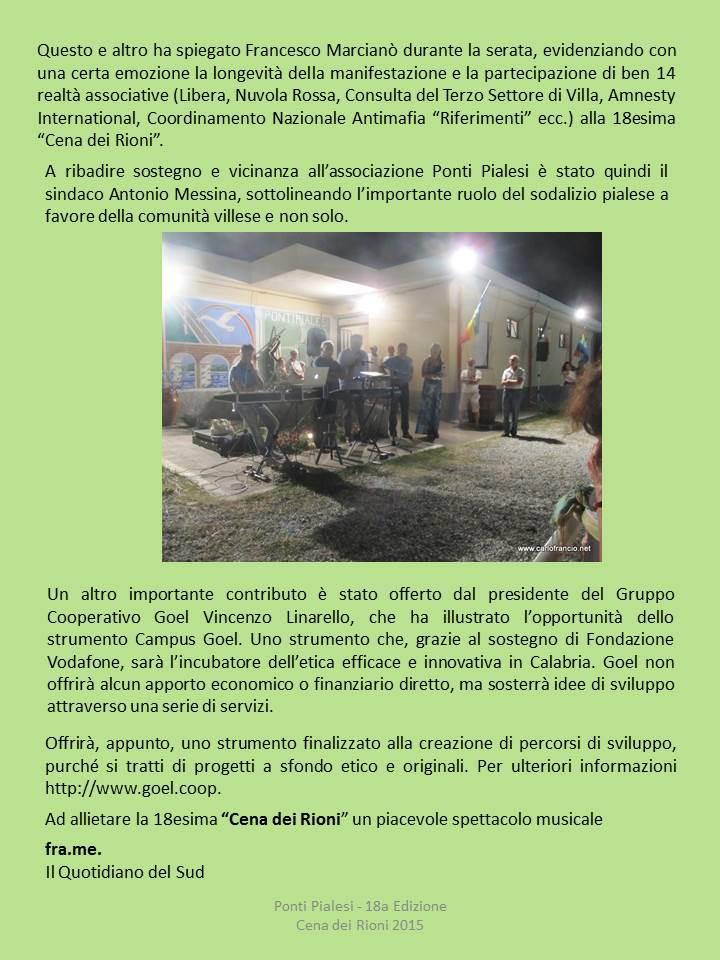"""PONTI PIALESI - CENA DEI RIONI 2015 """"Un Ponti di... Saperi, Memorie e Sapori!"""""""