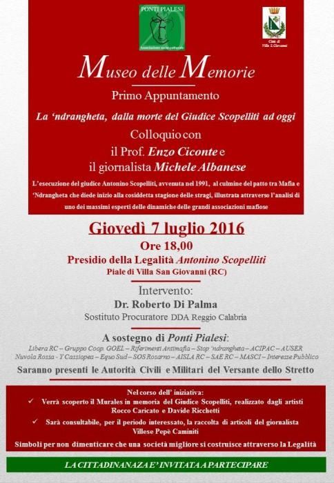 """Ponti Pialesi - Museo delle Memorie: Primo Appuntamento """"La 'ndrangheta, dalla morte del Giudice Scopelliti ad oggi"""""""