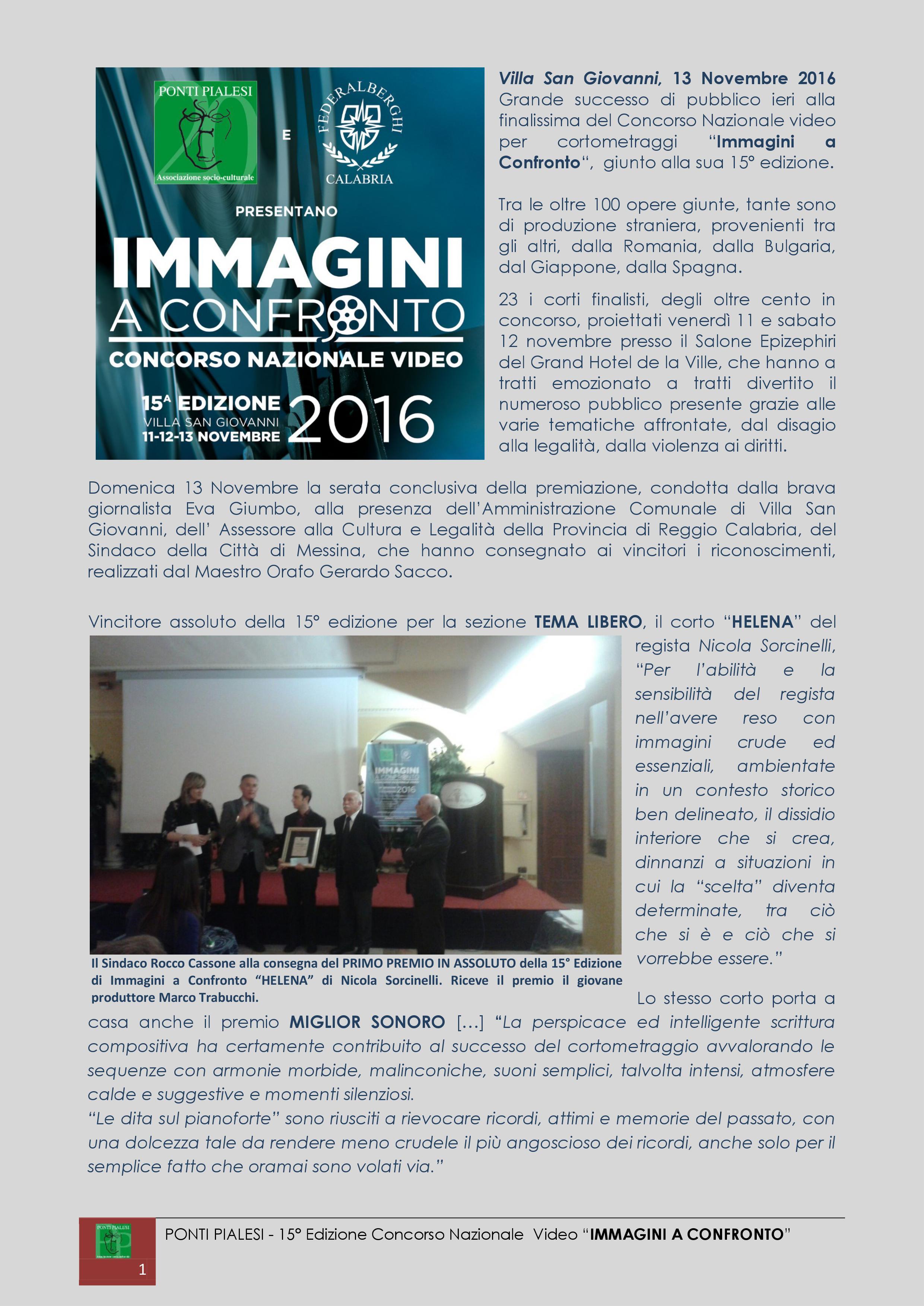 PONTI PIALESI - PREMIAZIONE  IMMAGINI A CONFRONTO 2016
