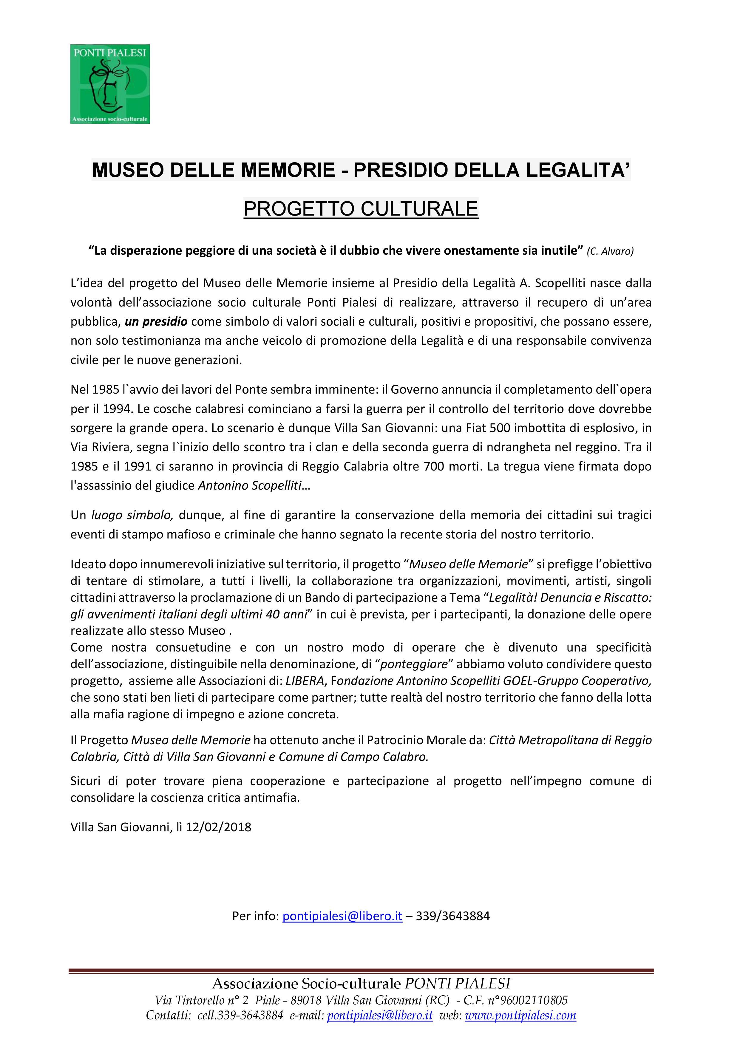 """PONTI PIALESI - PROGETTO """"MUSEO DELLE MEMORIE"""""""
