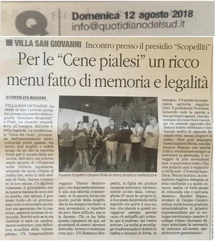 """IL QUOTIDIANO DELLA CALABRIA- Ponti Pialesi - Cena dei Rioni 2018 """"Arte e Legalità... Sotto Le Stelle"""