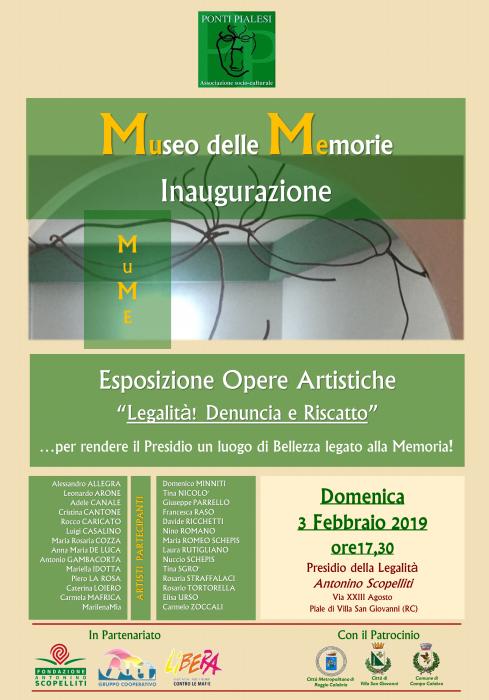 """PONTI PIALESI - Inaugurazione MuMe Museo delle Memorie """"Legalità! Denuncia e Riscatto"""""""
