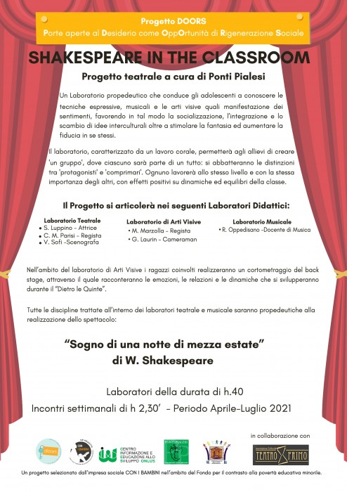 Ponti Pialesi - Laboratorio Teatrale Shakespeare in The Classroom (Progetto Doors per Impresa Sociale Con i Bambini)
