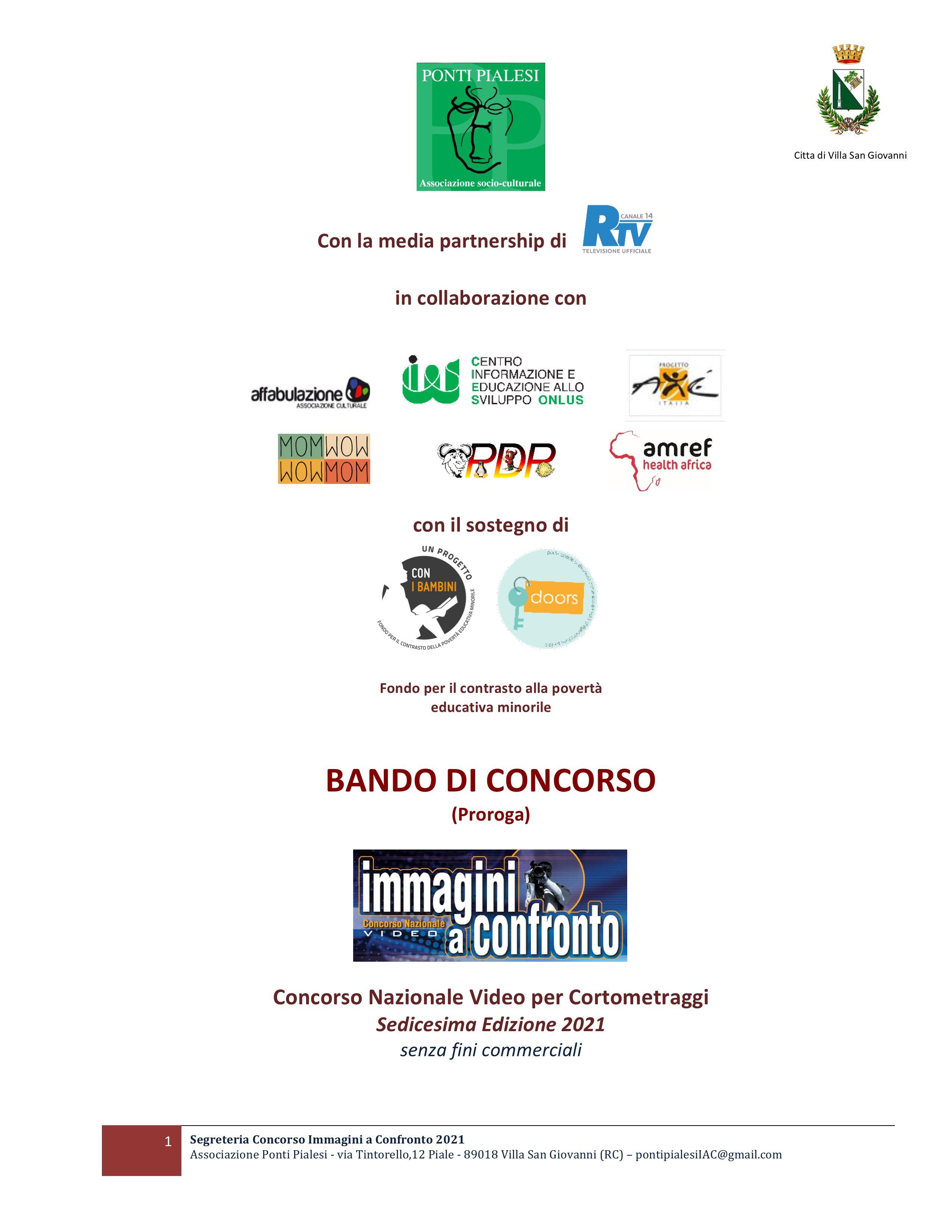 Ponti Pialesi - Bando di Concorso Cortometraggi (Proroga) Immagini a Confronto 2021